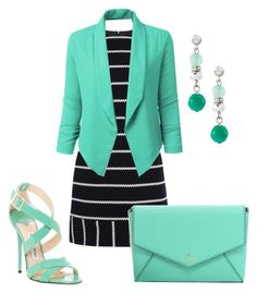 """""""Minty !"""" by najoli ❤ liked on Polyvore featuring Karen Millen, Jimmy Choo, Kate Spade and White House Black Market"""