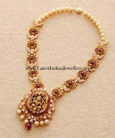 Polki Diamond Cabochon Rubies Temple Necklace | Latest Indian Jewellery Designs