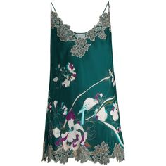 Carine Gilson Lace-trimmed silk-satin cami midi dress (32 860 UAH) ❤ liked on Polyvore featuring green print, lace trim cami, lace trim camisole, blue cami, floral camisole and carine gilson