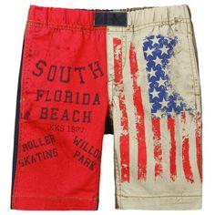 Ikks Bermuda patchwork en gabardine coton Rouge - 71089 | Melijoe.com