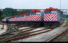 Metra commuter trains take the weekend off at Joliet, Illinois, 1990, by Mike Danneman; via Railpictures.net