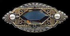Gustav Braendle, Theodor Fahrner Art Deco Brooch Silver, Partly Gilt Quartz Pearl Marcasite German ca. Old Jewelry, Jewelry Art, Antique Jewelry, Vintage Jewelry, Fine Jewelry, Jewelry Design, Jewelry Rings, Silver Jewelry, Jewellery