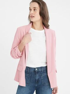 Ruched-Sleeve Blazer | Banana Republic Factory Young Professional, Princess Seam, New Product, Banana Republic, Cool Outfits, Bell Sleeve Top, Blazer, Female, Womens Fashion