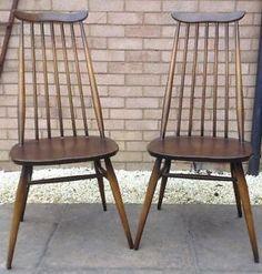 2x Ercol high goldsmith vintage retro dining chairs