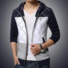 design atmosphere stitching Thickening Men Hoodies fashion badge decoration hoodies casual Slim hooded Sweatshirt M-5XL
