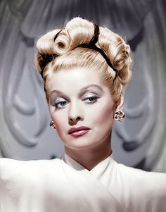 """Lucille Ball - beautiful celebrity actress colorized face portrait photography #headshot Watch a seductive Lucy in """"The Dark Corner"""" http://www.imdb.com/title/tt0038453/?ref_=nm_flmg_act_47"""