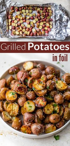 Crispy grilled potatoes are easy and a perfect side to any BBQ recipe. Golden outside, tender inside, with no boiling or clean up required! #grilling #foil #summersides #wellplated Delicious Breakfast Recipes, Easy Dinner Recipes, Healthy Recipes, Foil Potatoes On Grill, Grilled Stuffed Peppers, Easy Dinners For Kids, Roasted Fingerling Potatoes, Grilled Vegetables, Grilling