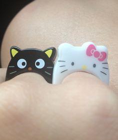 Plastic rings, Hello Kitty and Chococat