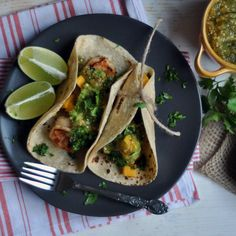 Chipotle Shrimp Tacos with Roasted Tomatillo Salsa from Turntable Kitchen