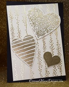 Design Info Hello thank you for joining me Today is this gorgeous Valentines card for you We've got layers of basic black card stock with a layer of bundle of love DSP (designer series paper) and then these gorgeous heat embossed hearts from the sure do love you stamps set! Measurements are: Basic black – …