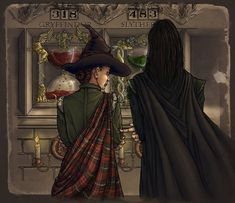 This is Snape and Minerva at the teacher table. Done in photoshop Snape at the teacher's table Arte Do Harry Potter, Harry Potter Severus Snape, Severus Rogue, Harry Potter Artwork, Images Harry Potter, Harry Potter Drawings, Harry Potter Anime, Harry Potter Books, Harry Potter Universal