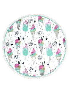Fun Ice Cream Print Round Beach Towel Mat