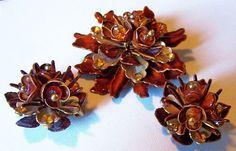 Vintage Brooch Earring Set Brown Enamel by BrightgemsTreasures, $34.50