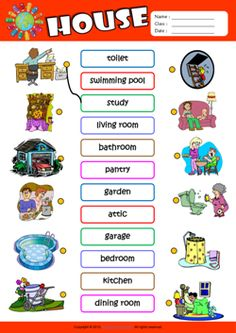 Parts of a House ESL Matching Exercise Worksheet For Kids