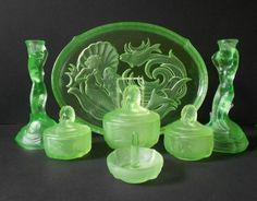 Phenomenal Uranium Vaseline Glass 1930s German Art Deco 7 piece Trinket Set by Walther & Sohne