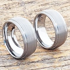 Turbo 9mm tungsten wedding band with a polished and brushed two tone finish. The Turbo is an eye catching grooved tungsten ring, comfort fit wedding band. Wedding Ring Styles, Unique Wedding Bands, Wedding Band Sets, Wedding Rings, Tungsten Carbide Rings, Tungsten Wedding Bands, Unique Rings, Fashion Rings, Band Rings