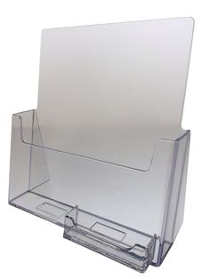 Magazine Brochure with Business Card Holder Clear Counter top Display Office #UnbrandedGeneric