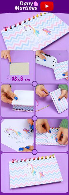 Faça Você mesmo uma caderneta ou caderno de anotações com unicórnio na capa, DIY, Do It Yourself, Como fazer um caderno de anotações