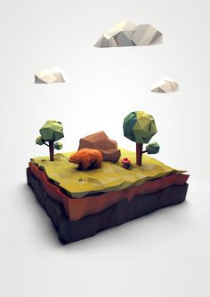 Low Poly Terrain Scene w/ Animal Bear