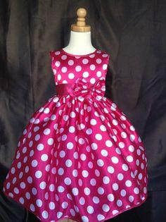 Minnie Mouse Inspired Polka Dot Satin Disney Toddler Girl Dress #0021
