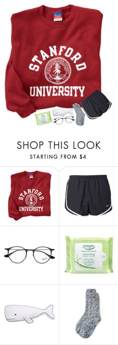 """night y'all"" by madelinelurene ❤ liked on Polyvore featuring NIKE, Ray-Ban, Simple, Thro and Lands' End"