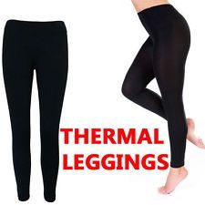 Womens Ladies Thermal Black Footless Warm Thick Fleece Lined Leggings Stretchy | eBay
