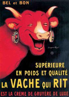 """""""La vache qui rit"""" par Benjamin Rabier (1864-1939) illustrateur et auteur de bande dessinée français. Il est célèbre pour le dessin de La vache qui rit et pour le personnage du canard Gédéon."""