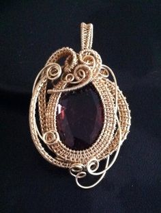 Amethyst Dreams, Faceted Glass Cab Wrapped and Woven in Brass by SparrowSongInDesign on Etsy