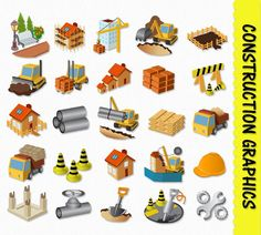 Construction Clip Art Graphics Heavy Equipment by GraphicsSupply