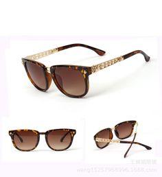 Leopard frame Golden metal leg Brown Lens Super Fashion sun glasses 2014 new brand designer women Oculos De sol Sunglasses n277 € 10,11