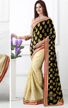 Beauteous Black and Cream Color Art Silk Saree