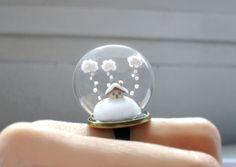 Christmas Ring Snow-covered landscape-Little house and white clouds- Winter Terrarium ring.. $69.00, via Etsy.