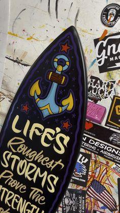 Anchor Painting, Hover Bike, Garage Art, Wall Hanger, Handmade Shop, Good Old, Surfboard, Original Artwork, Surfing
