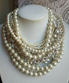 Check out this item in my Etsy shop https://www.etsy.com/ca/listing/479382034/chunky-pearl-necklacewedding-statement