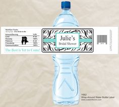 Zebra Background Water Bottle label from www.customfavors.com with  Tiffany Blue.  Love it for a bridal shower!