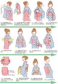 帯の締め方 - おいしい絵日記