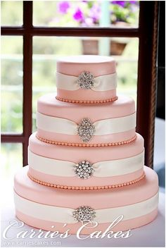 "Wedding Cake~ Callie (in pink) - #1122 Dimensions: 15""-12""-9""-6"" round Serves: 175 Includes Broaches"