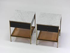 Paul McCobb, Irwin Collection Brass Nightstands with Marble Tops