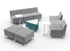 This cutting edge modular lobby furniture set from the Woodstock Marketing Jefferson collection includes a variety of side tables, ottomans, chairs, and even a powered triangular coffee table with pop up USB and 110V inputs designed to improve the guest experience.