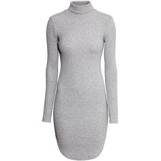 H&M Ribbed polo-neck dress ($30) ❤ liked on Polyvore featuring dresses, tops, grey, turtleneck tops, gray long sleeve dress, ribbed turtleneck, grey long sleeve dress and grey dress
