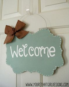 Mint Scalloped Welcome Sign with burlap by yourethatgirldesigns