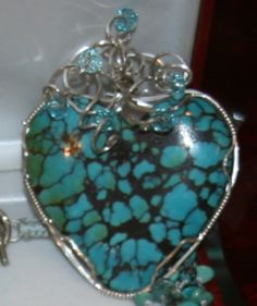 Turquoise Heart Wire Wrapped w Swarovski Crystals