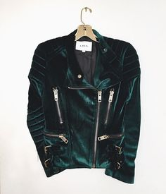 Short side zip emerald green velvet jacket