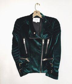 Short side zip emerald green velvet jacket