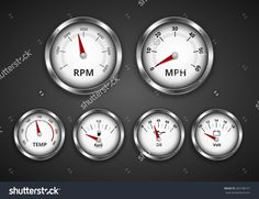 Vintage look silver gauge set for dashboard of expensive retro boat, yacht or car. Vector iilustration