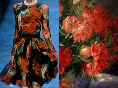 "Fashion & Flowers. D&G F/W 2014 & ""Peonies"" by Pierre-Auguste Renoir (details). Collage by Liliya Hudyakova"