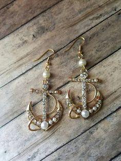Only $10 ! https://www.etsy.com/listing/280186710/gold-anchor-earrings-rhinestone-earrings