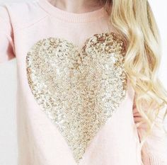 sweater top pink light pink light pink sweater heart sequins glitter gold cute cute sweatshirt girly winter top valentines day