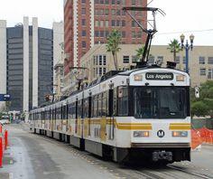 LA Metro Blue Line train in downtown Long Beach.