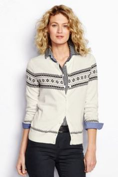 Women's Supima Fair Isle Cardigan Sweater from Lands' End + Black checked flannel (tunic v. Cardigan Sweaters For Women, Sweater Cardigan, Women's Sweaters, Cardigans, Fall Outfits, Kids Outfits, Flannel Tunic, Ceremony Dresses, Autumn Winter Fashion